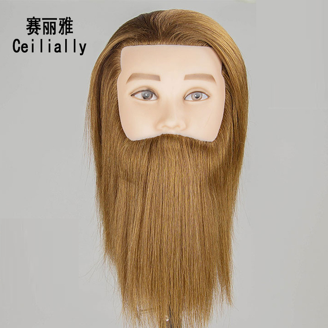100 Real Human Hair Male Mannequin Training Head Can Practice Hair