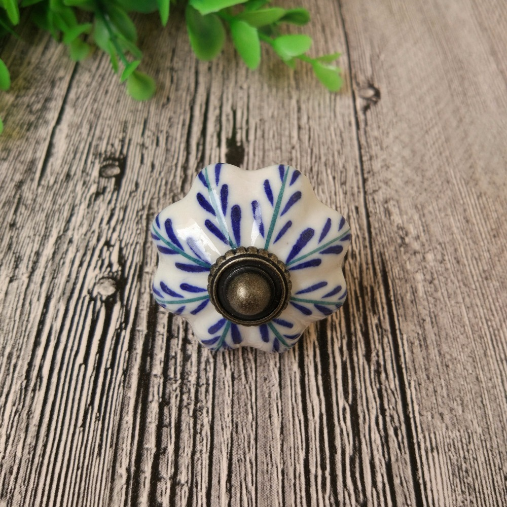43mm Big Blue Leaf Retro Vintage Ceramic Drawer Knob Pumpkin Handle Cabinet Cupboard Door Pull Home Decor retro vintage round ceramics drawer knob handle cabinet cupboard door pull decor l057 new hot