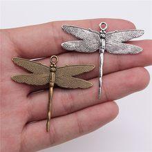 WYSIWYG 3 pièces 43x47mm pendentif libellule libellule breloque pendentifs pour la fabrication de bijoux pendentifs de libellule couleur argent Antique