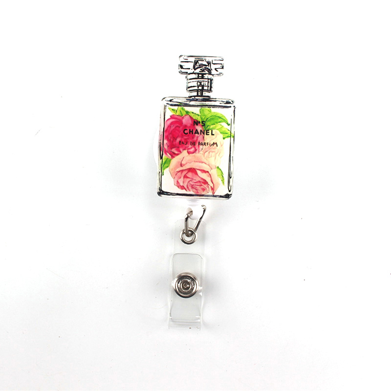 1Pcs lovely Cartoon perfume bottle Retractable Badge Reel Student Employee ID Name Card Bus card Badge Holder Office Supplies