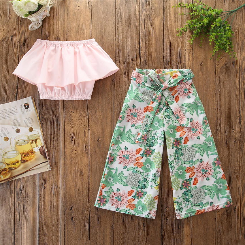 (5 sets/lot) New 2019 Summer Clothes T-shirt & Floral Pattern Bottom Girls' 2 PCs Set 90-130 CM Girl's Clothing Sets 011919
