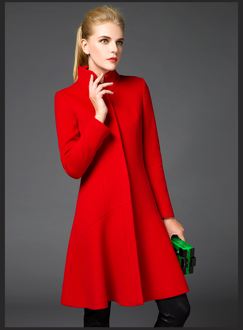 The new range of European and American jackets black red large size female winter wool coats