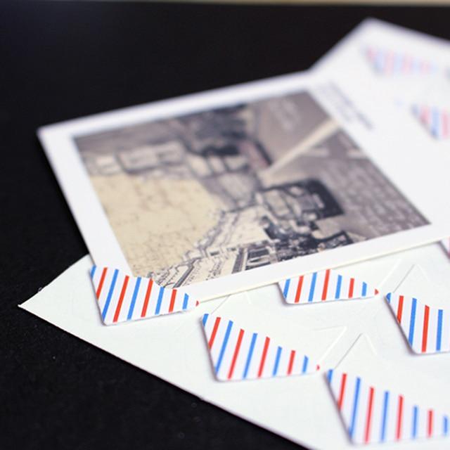 24 יח'\חבילה DIY רטרו משובץ פסים פינת נייר מדבקות עבור אלבום תמונות הולם עבודת יד מסגרת אלבומים קישוט רעיונות
