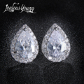 Fashion Sliver Color Pear Cubic Zirconia Stud Earrings For Women Crystal Earings For Party Water Drop Studs Ear For Girl