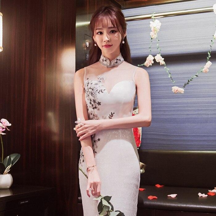 Белый Винтаж Cheongsam кружево вышивка блёстки современное Ципао китайский вечерние платья для женщин традиционное платье Oriental Qi Pao