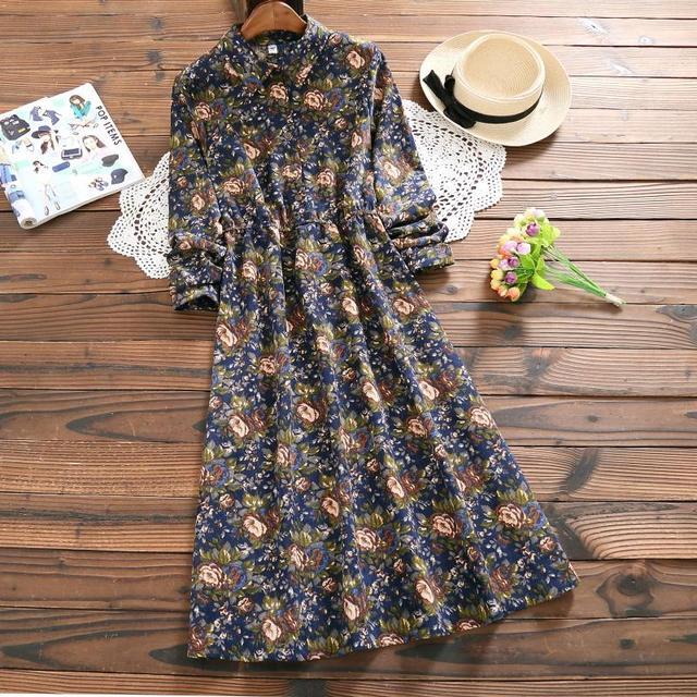 Blue,Red Flower Print Retro Vintage Dress 2018 New Literary Women Long Sleeve A-line Long Corduroy Dresses Floral Print Vestidos