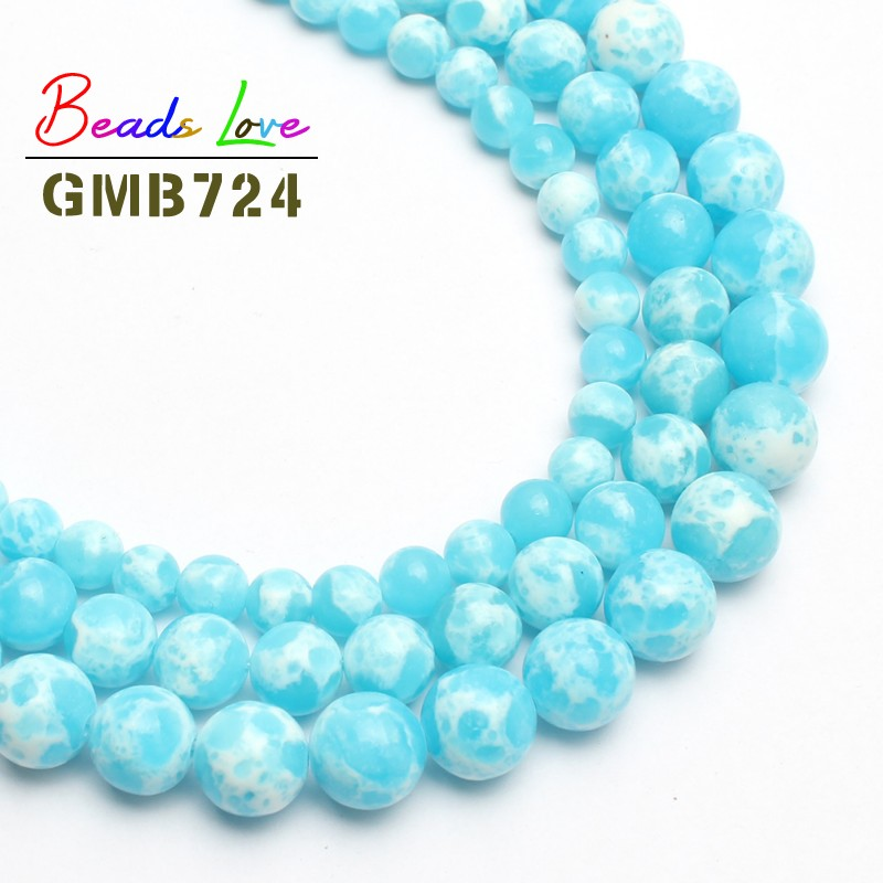 Wholesale Sky-Blue Sea Sediment Imperial Stone Beads For Jewelry Making Natural Stone Beads DIY Bracelet Choker 6/8/10mm 15''