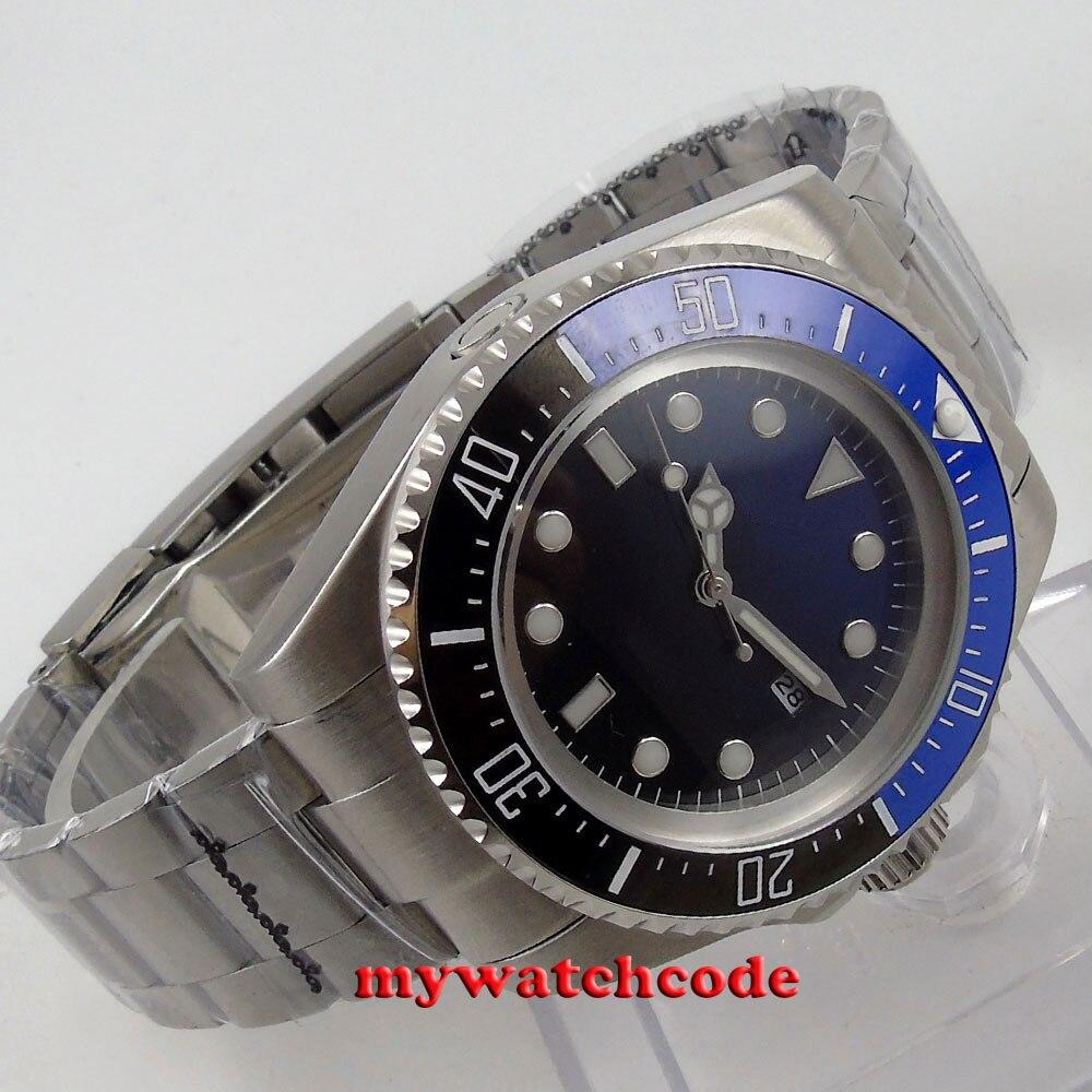 44mm parnis blue Sterile dial date window Ceramic Bezel automatic mens watch B55