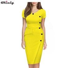 559316e35322a4f Для женщин; Большие размеры 3XL v-образным вырезом короткий рукав желтый  наряд с кнопкой империи талии Тонкий Карандаш Bodycon г.