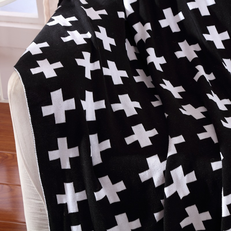Amazing Us 58 0 Cotton Knitted Blanket Sofa Bed Spread Bath Throw Baby Carriage Carpet Stylish Black And White Cross 2 Sizes Free Shipping In Blankets From Machost Co Dining Chair Design Ideas Machostcouk
