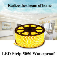 DHL Free Shipping LED Strip 5050 Waterproof 220V IP67 High Voltage 230V LED Flexible Strip Power Plug 60leds/m White/Red/Blue