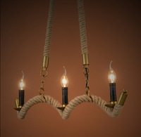 Hanfseil 3 glühbirnen E14 Tom instrument pendelleuchte kleine vintage restaurant lampe bar pendelleuchten für großhandel lieferant