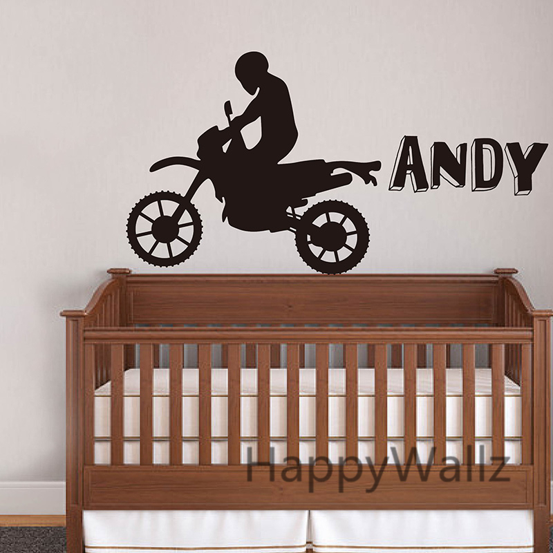 Custom Name Motorcycle Wall Sticker DIY Boys Name Wall ...