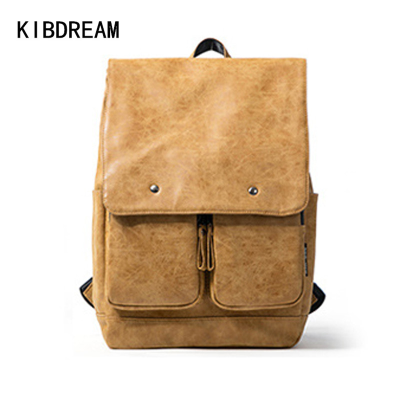 KIBDREAM 2016 Famous Designer Genuine Leather Men Backpacks Large Capacity Travel Bag Real Leather Teenagers Laptop School Bags zooler genuine leather backpacks 2016 new real leather backpack for men famous brand china hot large capacity hot 65055