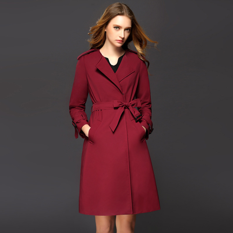 2016 High Quality Fall Winter Fashion Trench Coat For Women Casual Ladies Ol Overcoat Slim Long