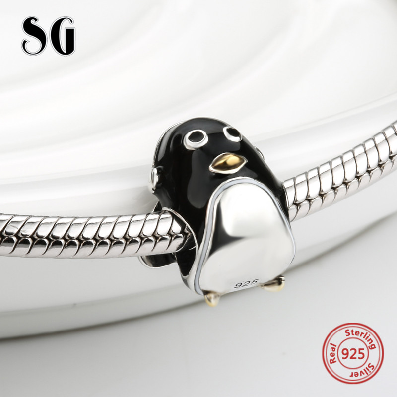 SG 925 Sterling Silver Charms cute animal penguin beads with black enamel Fit Original pandora Charms Bracelet diy Jewelry Gift