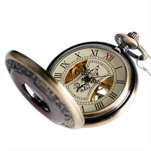 Image 3 - Retro bronze oco caso número romano esqueleto mão vento mehanical fob bolso relógios com corrente reloj de bolsillo