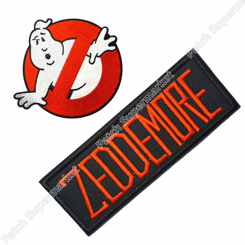 """Ghostbusters Stantz No Ghosts Logo Screen Accurate 4/"""" Patch Set of 2"""