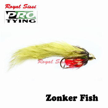 Royal Sissi PRO TYING 4pcs/box 6#conehead zonker fish streamer fly forage bass pike Bunny flies fly fishing artificial lure bait image