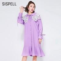 SISPELL Elgent Women S Dresses Sailor Collar Flare Sleeve Ruffles Midi Dress Female Loose High Waist