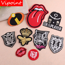 VIPOINT embroidery lip mouth bee patches army college badges applique for clothing YX-232