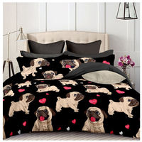 Bulldog Children Bedding Three pieces set home textile Europe and the US large size polyester fiber customizable no bed linen