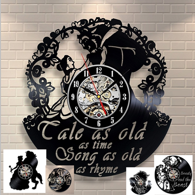 Beauty And The Beast Belle Love Story Vinyl Record Design Wall Clock Decorate Your Home