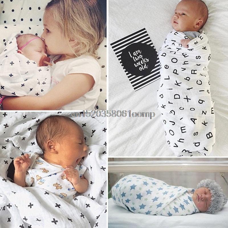 Baby Swaddling Blanket Soft Muslin Newborn Infant 100% Cotton Swaddle Towel #K4UE# Drop Ship removable liner baby infant swaddle blanket 100