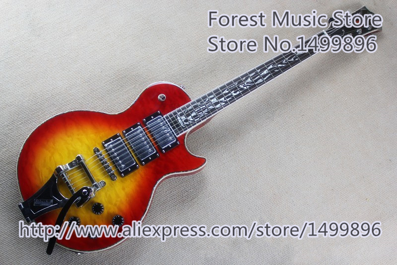 Custom Shop Cherry Sunburst Quilted Finish LP Electric Guitar With Chrome Bigsby As Picture For Sale new arrival historic 1959 lp reissue aged vintage cherry sunburst guitar g electric guitar 110126