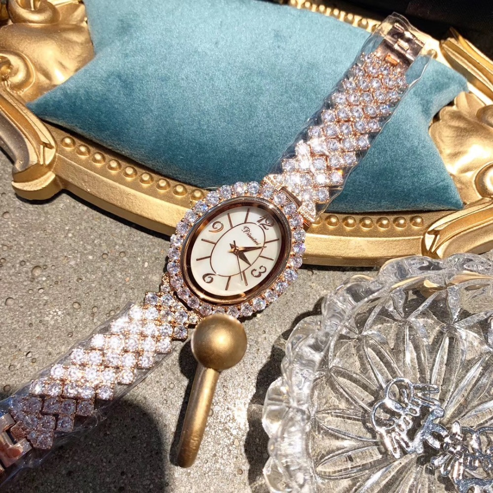 New Arrival Brand Jewelry Watches for Women Luxury Full Rhinestones Bracelet Watch Quartz Vintage Oval Party Dress Wrist watch