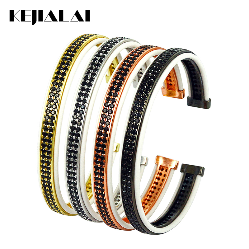 Fashion Jewelry Bangles Bracelets for Men White Leather with Double Lines Black Zircon Open Cuff