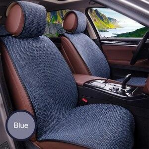 Image 1 - 2 pcs רכב מושב כיסוי כחול גלימת פשתן/2 קדמי או 1 מושב אחורי כרית כרית Fit ביותר רכב, משאית, Suv, להגן על רכב פנים