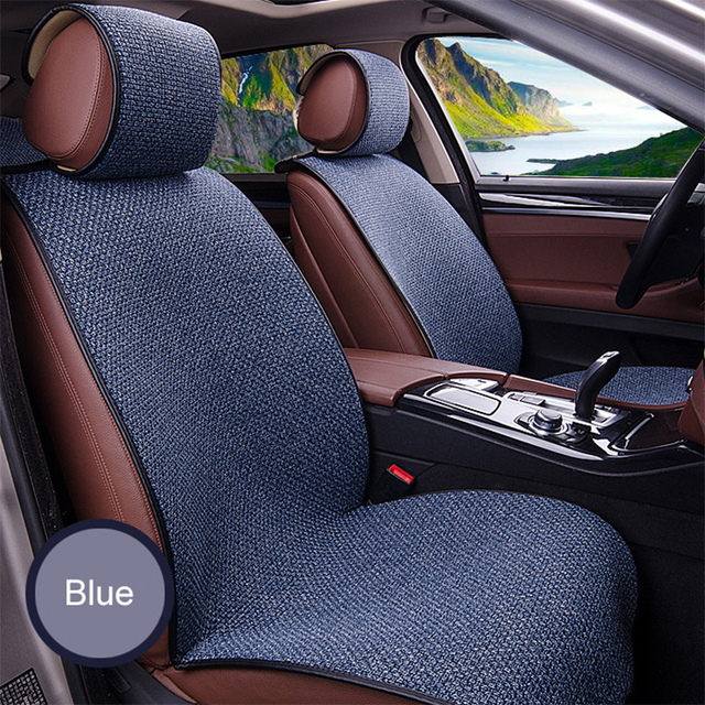 2 pcs Car Seat Cover Blue Cloak Linen/ 2 Front or 1 Back Seat Cushion Pad Fit Most Car, Truck, Suv, Protect Automotive Interior