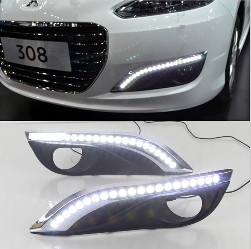 ФОТО Car Waterproof 12V LED Daytime Running Lights DRL LED Fog Lamp With Turn Signal For Peugeot 308 2012 2013 2014 2015