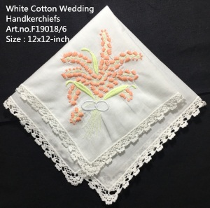 Set Of 12 Fashion Wedding Bridal Handkerchiefs White Cotton Hanky Hankies With Lace & Embroidered Floral 12x12-inch