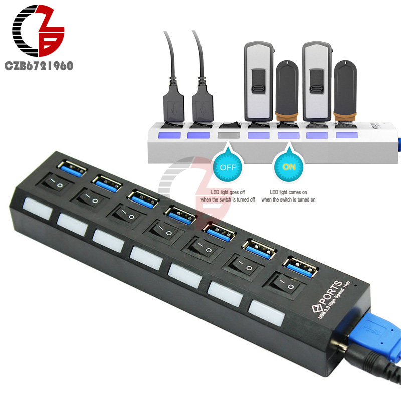 USB 3.0 7 High Speed Port HUB with ON/OFF Switches Active Distributor + USB Cable + Power Supply for Notebook MP3 MP4 good sale usb 2 0 hi speed 4 port splitter hub adapter for pc computer notebook mar 2