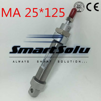 Free Shipping MA 25 125 Pneumatic Stainless Steel Air Cylinder , 25mm Bore 125mm Stroke 25x125 Double Acting Cylinder, 1/8 Port
