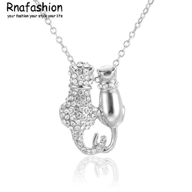 NO MINIMUM ORDER Fashion Small jewelry wholesale European style fashion lovers cat necklace pendant Jewellery For Women Gift