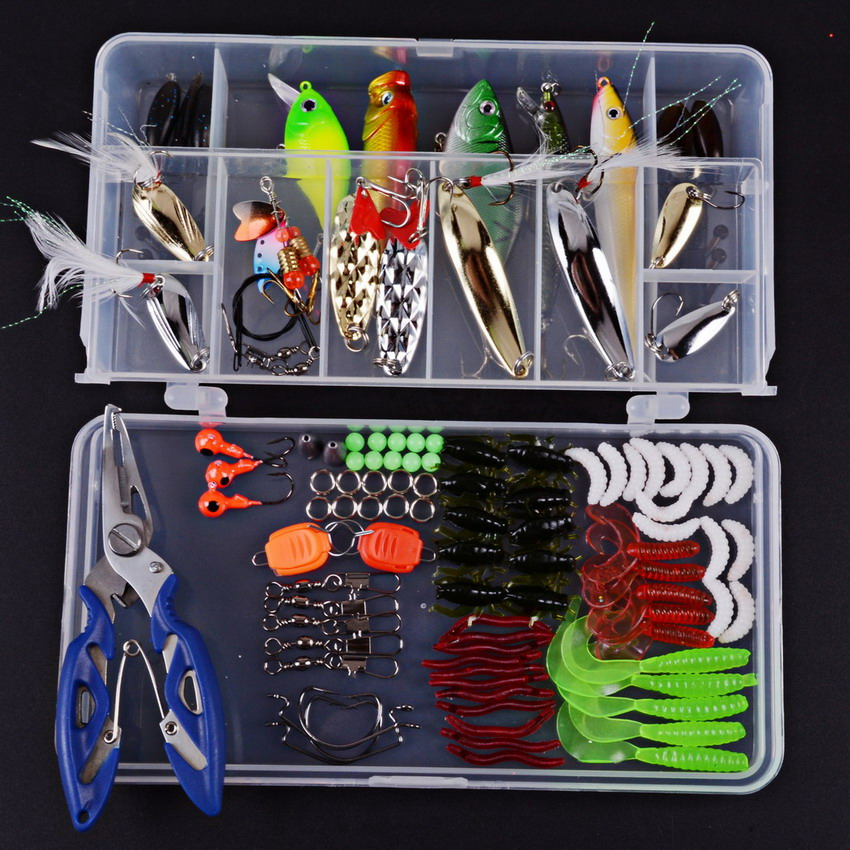 Fishing Lures Kit Mixed Swivel Hook Spinner Grip Fish Lures Set In Storage Box Isca Artificial Bait Fishing Tackle Popper Pesca fishing tackle box for storage bait hook with a waist belt