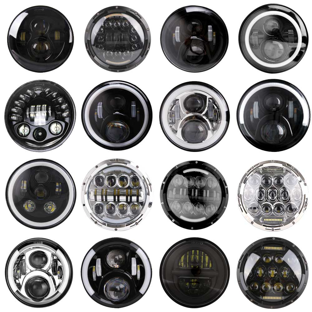 2pcs / 1pair Universal 7'' Led Headlight H4 High Low Beam Round Cars Running Lights for Jeep Lada Niva 4x4