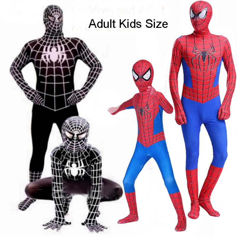 Kids And Adult Red Black Spiderman Costume Boys Men Spider Man Suit Spider-man Cosplay Superhero Halloween Party Costume