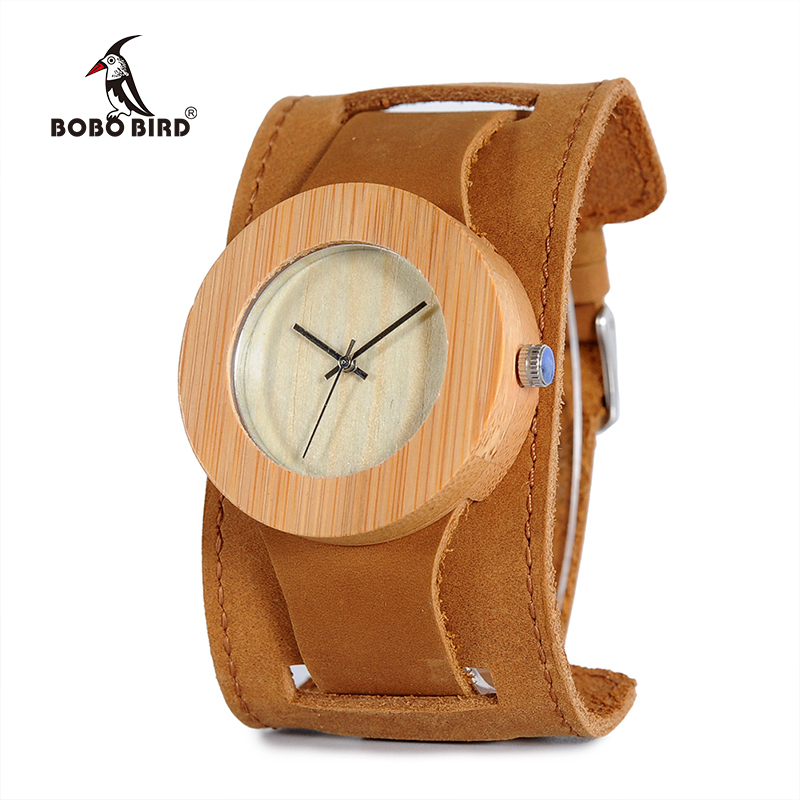 BOBO BIRD C04 Men Women Wood Watch Analog Quartz Wooden Watches with Wider Leather Strap bobo bird metal case with wooden fold strap quartz watches for men or women gifts watch send with wood box custom logo clock