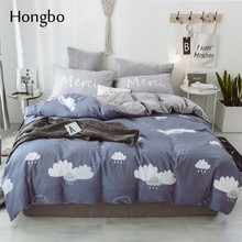Hongbo Crystal Flannel Bedding Sets Cloud Pattern Bed Sheet Duvet Cover Bedclothes Fitted