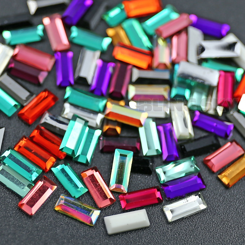 800 TEILE / LOS Mix Farben 7x3mm Rechteck Harz Strass Nagel Kristall - Kunst, Handwerk und Nähen - Foto 3