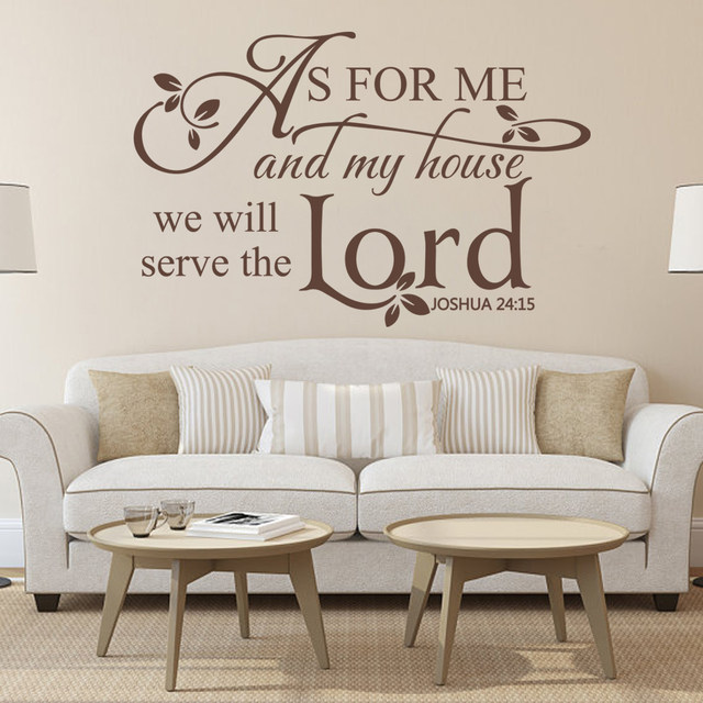 Beau Scripture Wall Decal Vinyl Art AS FOR ME And My House We Will Serve The  Lord   Joshua 24:15 35.6cm X56cm