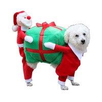 Perro Gato Mascota de la Navidad de Santa Claus Traje de ropa Trajes de invierno cálida lana de perro mono capa de la chaqueta de perro regalo de vacaciones