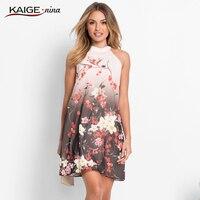 Summer Noble Charming Chinese Style Print Women S Dress Halter Sleeveless Mini Dresses Slim Fit Dress