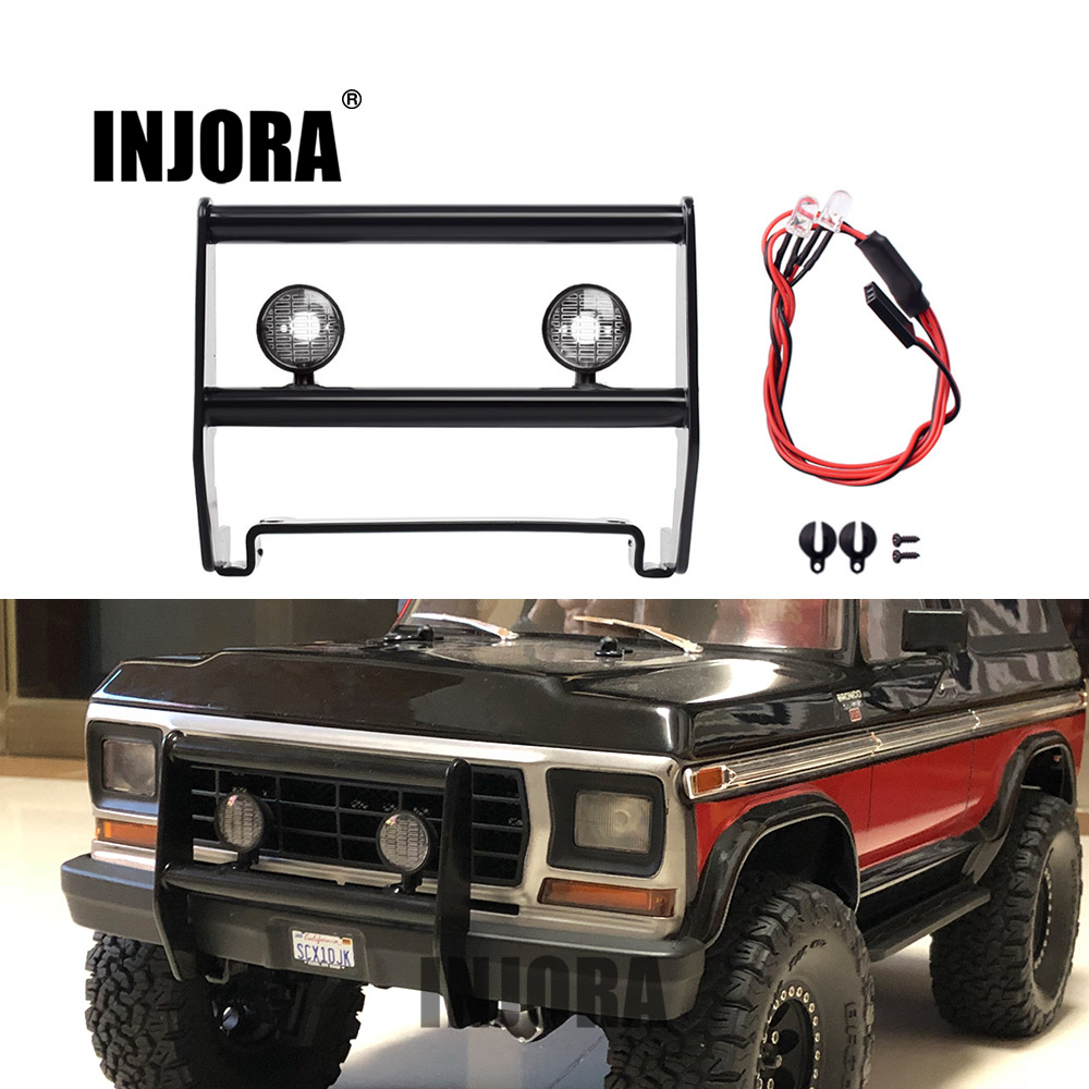 INJORA Front Metal Bumper with Led Light for 1/10 RC Rock Crawler Traxxas TRX4 Bronco 82046-4 цена