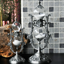 15 Minutes Vintage Zinc Alloy Rotating Hourglass Sandglass Sand Timer Sand Timer Home Office Desk Decor Craft Figurines Ornamets wall mounted rotating sauna wooden hourglass white sand timer 15 minutes