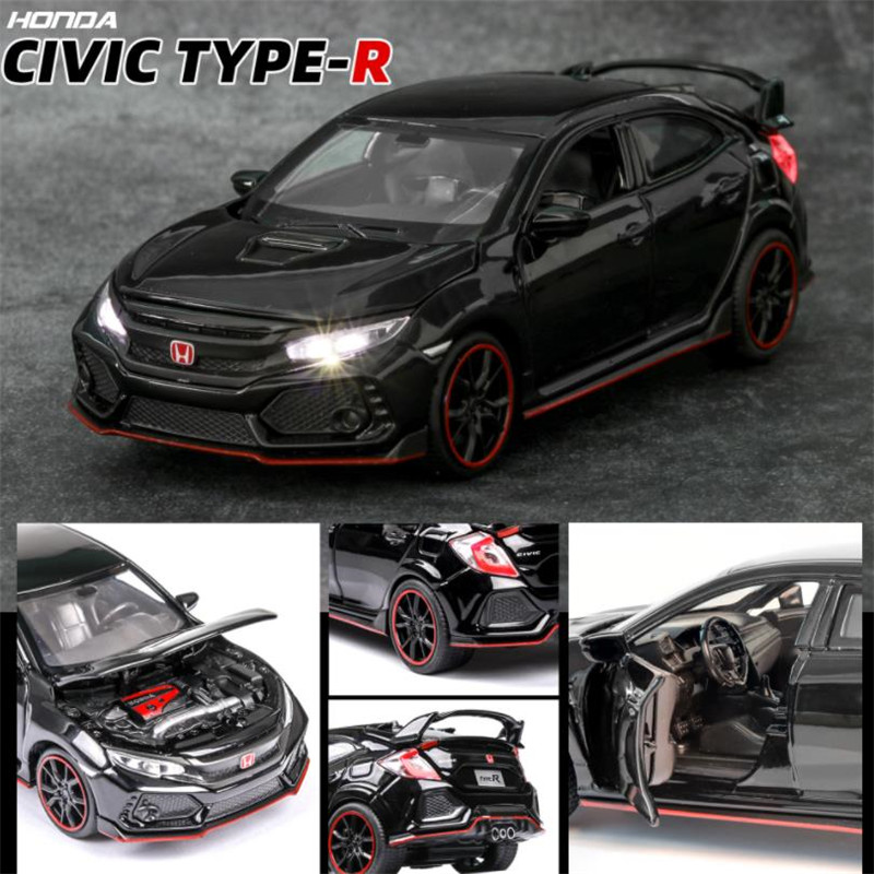 1 32 HONDA CIVIC TYPE R Diecasts Toy Vehicles Car Model With Sound Light Collection Car Toys For Boy Children Gift in Diecasts Toy Vehicles from Toys Hobbies
